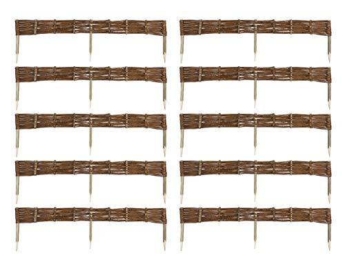 MC.Sammler 10 x Beeteinfassung aus Weide 16 Größen Weidenzaun Rasenkante Beetbegrenzung Steckzaun imprägniert mit Buchepflöcken für leichtes Einsetzen Länge: 120 cm Höhe: 10 cm