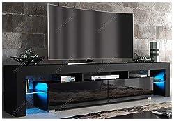 Modern TV Unit 200cm Cabinet Black Matt and Black High Gloss FREE LED RGB Lights
