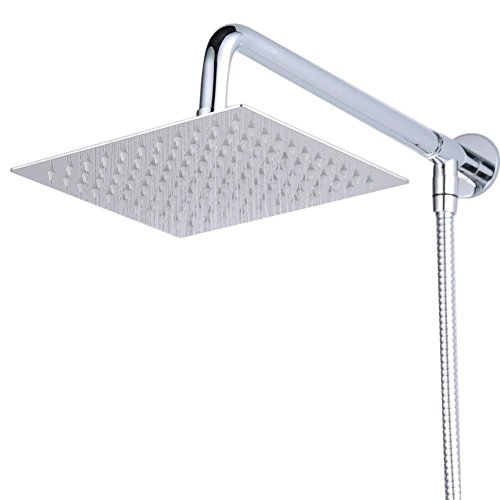 HiendureWall Mount 8 inch Rainfall Square Shower Head With Shower Arm Shower Hose Stainless Steel Chrome Finished image