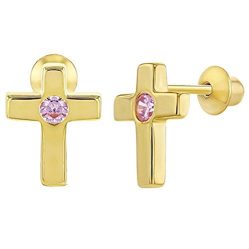 In Season Jewelry - Schraubverschluss Ohrringe Kreuz Gold Flashed 925 Sterling Silber Rosa CZ Zirkonia (Babys Earing Gold Für)