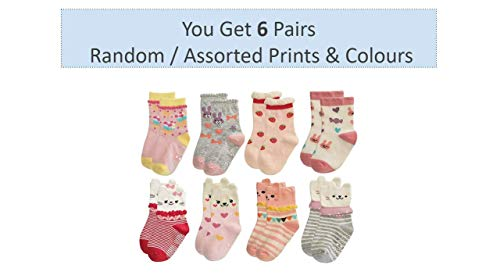 Trendy DukaanTM Kids Grip Socks - Pack of 6 Pairs (Colors & Design May Vary) (Girls, 24-36 Months)