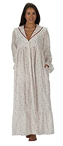 The 1 for U 100% Cotton Victorian Style Nightgown/Housecoat Amelia XS-XXXXL (XL, Vintage Rose)