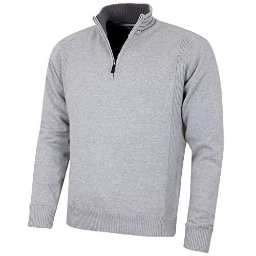 Island Green Herren Mens 1/2 Zip Neck Lined Sweater Pullover, Marl/Grey, M