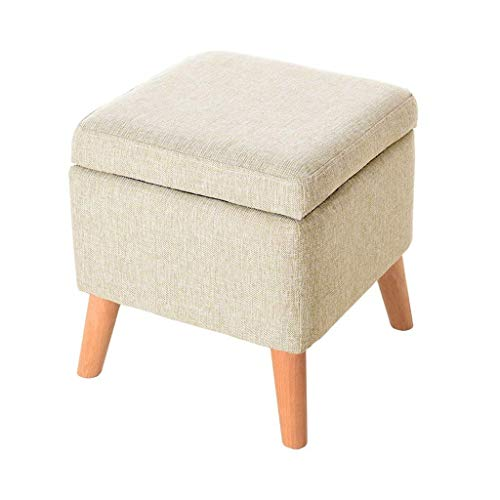 Cpsh sgabello multifunzionale in legno, poggiapiedi beige in tessuto di lino con copri-scarpiera fissa in legno panca poggiapiedi ottomana in legno a 4 gambe, misura [40x40x42cm]
