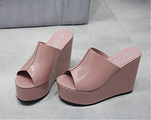 Xing Lin Onorevoli Sandali Pantofole Estate Femmina Pendenza Con Pantofole Di Spessore Tacco Sandali Punta Aperta Bocca Pesce Femmina Impermeabili Sandali Di Taiwan pale pinkish gray