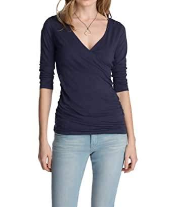 Esprit - T-Shirt - Manches 3/4 Femme - Bleu - Blau (Cinder Blue) - FR : 46 (Taille Fabricant : XXL) (Brand size : Herstellergröße : XXL)