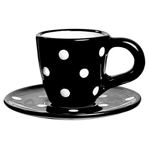City to Cottage Taza de café con platillo, diseño de Lunares, Color Blanco y Negro, Hecho a Mano, de cerámica única de 60 ML