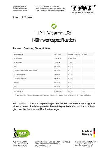 Vitamin D3 Hochdosiert | Vitamin-Pulver als Nahrungsergänzung für Alltag, Sport, Fitness & Bodybuilding | Immunsystem stärken | TNT Premium Qualität aus Deutschland - 90g - 6