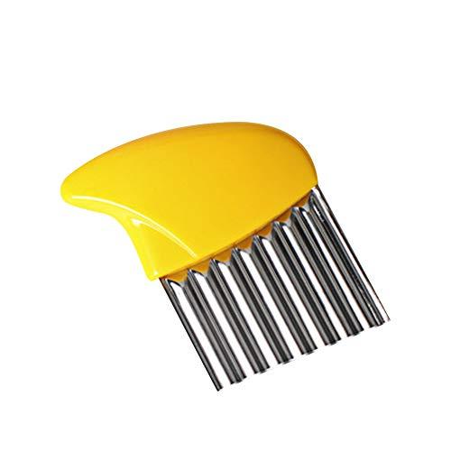Tempshop - Cuchillo de corte ondulado para patatas (multifunción, ondulado, fritas, ensalada) amarillo