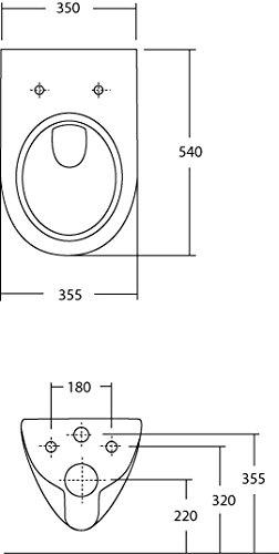 Keramag Renova Rimfree Wand-WC Set | Spülrandloses Wand-WC | Mit WC-Sitz | Tiefspüler | Weiß