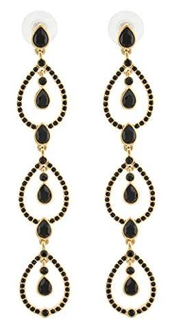 Zest Triple Pear Drop Swarovski Crystal Pierced Earrings Gold & Black