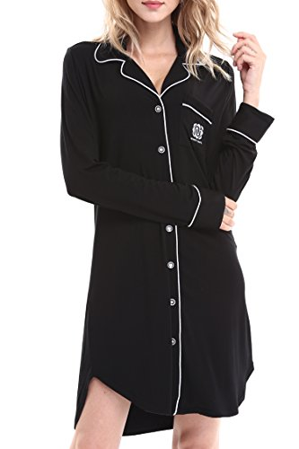 Women Long Sleeve Pajama Top Buttom Down Sleep Shirt Dress by Nora Twips(XS-XL) - 41R 2B36ZPBPL - Women Long Sleeve Pajama Top Buttom Down Sleep Shirt Dress by Nora Twips(XS-XL)