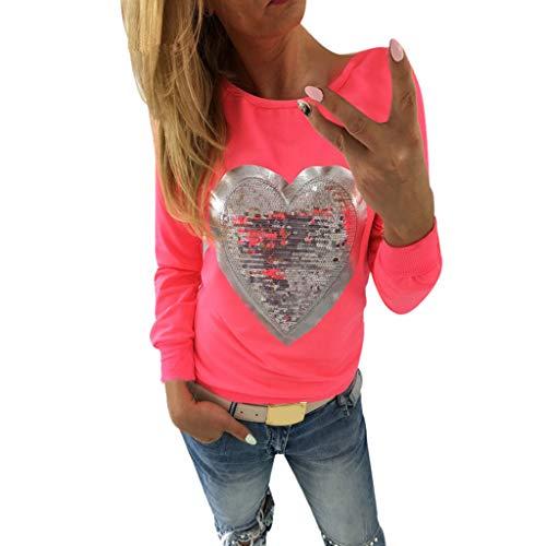 Damen Langarm-Shirt, Damen Hoodies Langarm Herz Pailletten O Neck Sweatshirt Pullover Tops Bluse Sweatshirt