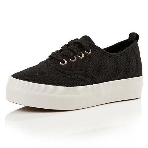Dolcis Women Esta En Toile Avec Des Lacets Fashion Forme Plate Casual Noir Sneakers