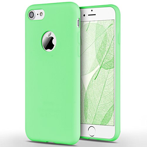 Funda iPhone 7, Yokata Silicona TPU Pluma Ultra Delgado Ligero Elegante Suave Mate Carcasa Trasera Fantasía Caprichoso Kawaii Adorable Diseño Flexible Case Bumper Resistente a los Arañazos Anti Choque Anti-deslizante Soft Protectora Cover - Candy Verde