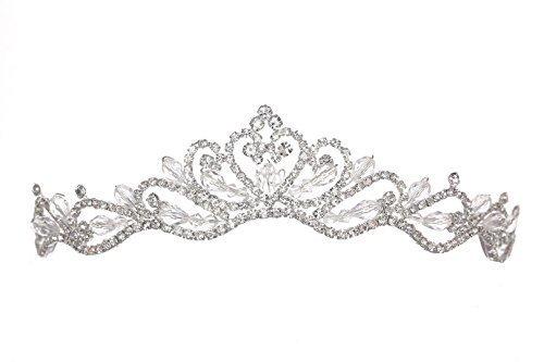 Venus Jewelry Tiara o corona de boda de cristal de floral para mujer Plateado