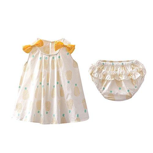feiXIANG Kleid + Hose Set Baby Mädchen Outfits Kleidung Bowknot Neugeborenes Kleider Karotte Print Hemdkleid (Gelb,100)