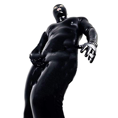 Body Latex Anzug Kostüm - MSUCCESS Sexy Dessous Herren Latex Catsuit-Leder Bondage Body Leotard Anzug Kostüme Dessous Fitness Slim Fit,XXL