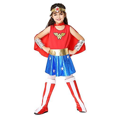 Hope Wonder Woman Kostüm Kinder 3-8 Jahre Mädchen Cosplay Kleidung Kostüm Geburtstag Party Karneval Halloween Outfits,Red-XL(125~136 cm) (Wonder Woman Kostüm Für Kleinkind)