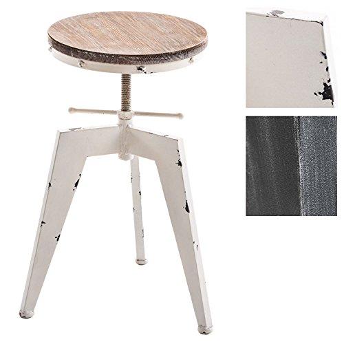 CLP Tabouret en métal Robot, Style Industriel, diamètre de l'assise 33 cm, siège en Bois, réglable en Hauteur 48-61 cm Blanc Antique