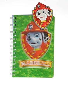 MTC- ED97229 - Cuaderno de Espiral 3D y Insignia de la Patrulla Canina Marshall, Color Verde