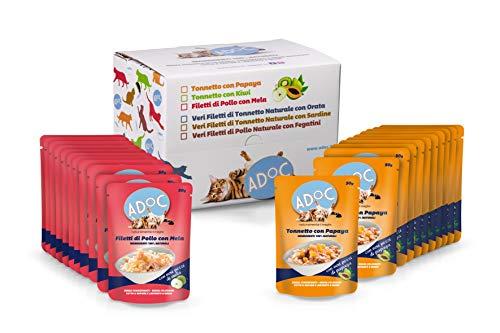 ADOC Cibo Umido per Gatti con Ingredienti Naturali al 100%, Multipack da 22 Buste da 50 Gr con Tonno e Papaya e con Pollo e Mela - 1100 Gr
