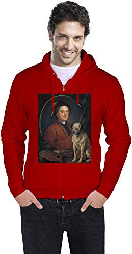 Top Paintings of All Time William Hogarth - Painter and his Pug Painting Men Zipper Hoodie Stylish Fashion Fit Custom Apparel by Medium
