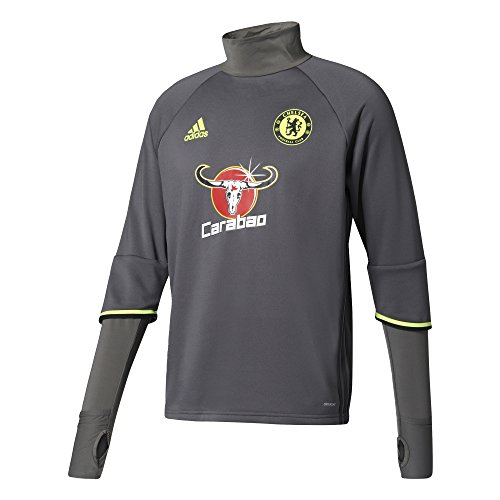 Adidas Cfc TRG TOP Sweatshirt Chelsea FC, Herren M Grau (Granit / Negro / Amasol) (Chelsea Pullover)