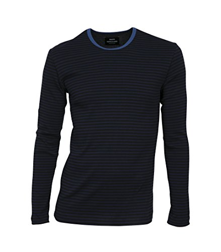MADS NORGAARD Herren Langarmshirt Tobias in Streifen-Muster 1802 black/navy-bright blue