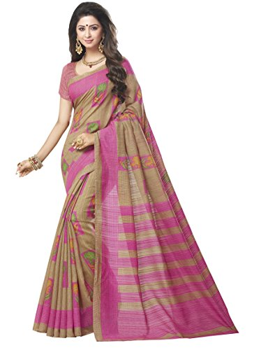 TRUNDZ Women's Bhagalpuri Cotton Saree Partywear/Wedding Saree/Casual Wear Saree With Blouse Piece