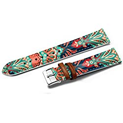 iCreat Mens Genuine Leather Watch Strap Band Stainless Steel Buckle - Aztec Pattern Ethnic Elegance