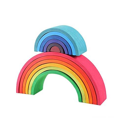 SNIIA Holz Regenbogen Stapeln Spiel Lernen Spielzeug Geometrie Bausteine   Nesting Stacker Bunte Lernspielzeug Puzzle für Kinder Baby Kleinkinder Kinder