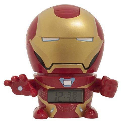 BulbBotz Marvel 2021685 Avengers: Infinity War Iron Man Kinder-Wecker mit Nachtlicht und typischem Geräusch , rot/gold , Kunststoff , Höhe: 14Zentimeter , LCD-Display , Junge/Mädchen , offiziell