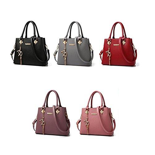Toopot Damen Schultertaschen Handtasche Tote Geldbörse Tasche Mode Umhängetasche Dark Purple
