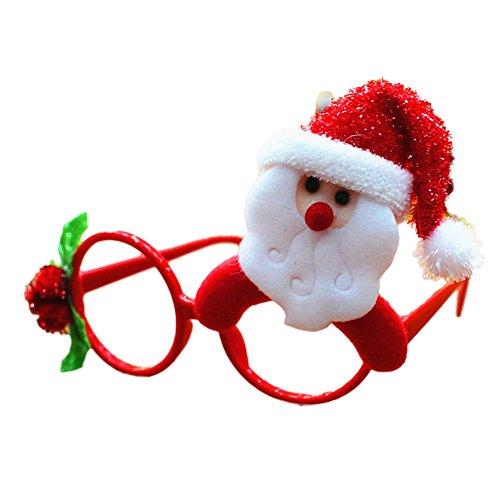 Accesorios de la fiesta de Navidad,Longra ❤️ Gafa de Decoraciones de navidad Gafas de Decoración Fiesta con Diseño de Sombrero Rojo de la Navidad (A)