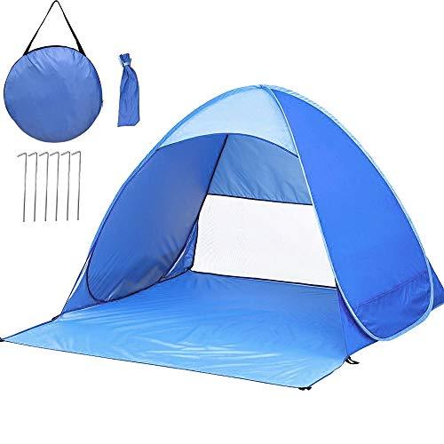 MOGZZi Strandmuschel, Outdoor Pop Up Zelt Extra-Licht Automatisches Strandzelt Sun Zelt Tragbare UV Schutz Baby Beach Zelt für Familien/Camping/Angeln/Strandzeiten - Blau