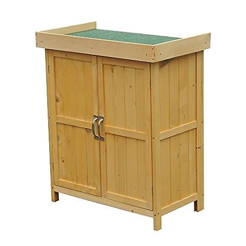 Outsunny Holz Brust Garten-Werkzeug Aufbewahrungsbox im Schrank Holz Schuppen Wasserdicht Lift Top doppelt Türen w/Regal 74lx43wx88h (cm)
