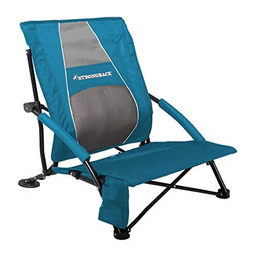 Strongback Low Gravity Blau Strandstuhl - Ergonomischer Strand Garten Faltstuhl mit Lordosen Stütze, 50cm breite Sitzfläche, Armlehne, Getränkehalter