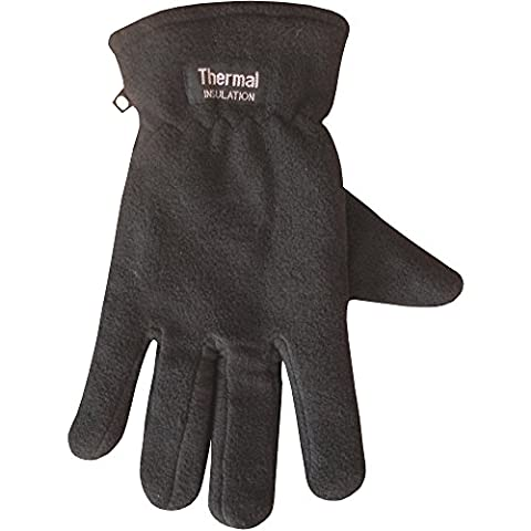 Ladies Chunky Fleece Lined Micro-Fibre Thermal Insulated Warm Winter Gloves (Black)