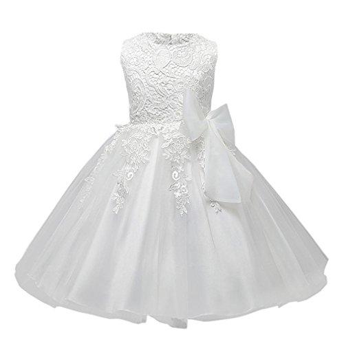Robe Bébé, Mounter Été Manches Sans Tutu Robe Princesse [ Bowknot ] [ Dentelle ] Robe de Mariage (18 Mois, Blanc)
