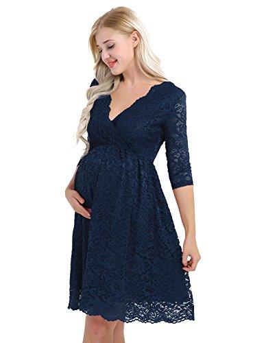 Tiaobug Damen Umstandskleid Spitzenkleid Frauen Schwangerschafts Kleid V-Ausschnitt Mutterschafts Kleid Fotografie Stillkleid mit Geknotetem Dekolleté dunkelblau 46(Taille 90-122cm)
