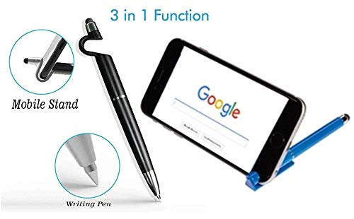RIYA Products 3 in 1 Function Pen with Smartphone Stand Holder, Screen Wipe & Ballpoint Pen, Writing Pen, Compatible for Android Touch Screen Mobile Phones and Tablets Mobiles Model 152742