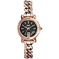 Jean Paul Gaultier - Women's Watches G-Spot Mini Pink PVD Steel with Stone - Black PVD Steel Pink Leather Strap - 28 mm - 8503603