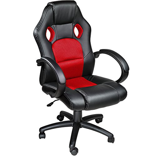 TecTake Poltrona Sedia direzionale da ufficio Racer classe di lusso - disponibile in diversi colori (Rosso)