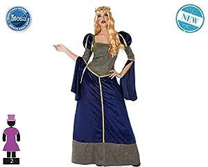 Atosa-61385 Atosa-61385-Disfraz Dama Medieval-Adulto Mujer, Color azul, XS a S (61385