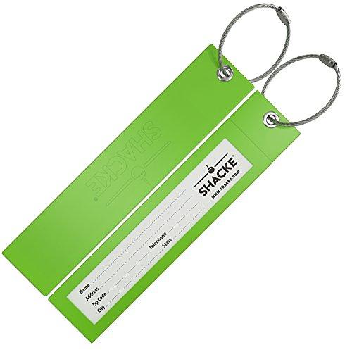 Shacke - Etichette per Valigie Shacke con Design Lungo e Pieghevole in Plastica con Anelli in Acciaio (Verde)
