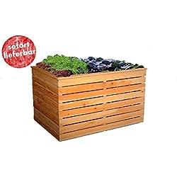 Apila Hochbeet I 100x70x72cm Lärchenholz Teilmontiertes Garten-Möbel mit Unkrautvlies und Lüftungsschlitzen Echtholz zum Discountpreis