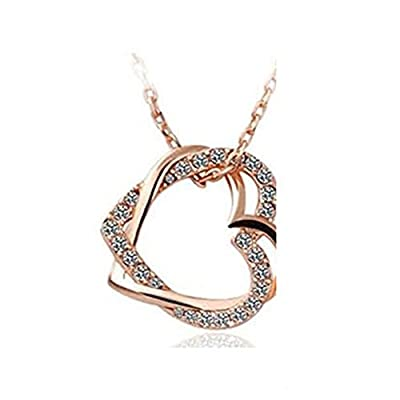 leading-star Charming Plated 2 Heart Pendant Necklace