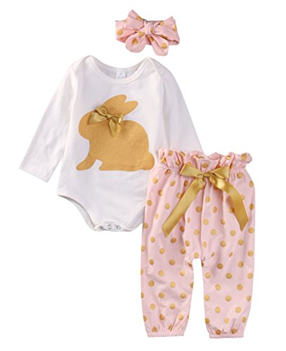 es Baby Mädchen Langarm Body Romper Overalls+ Hosen Outfits Set Kleidung Set (12-18 Monate, Rosa) ()
