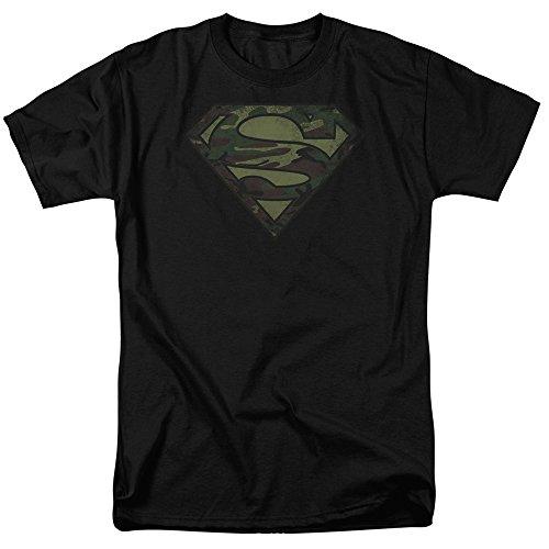 Superman - Camo Logo Distressed - Schwarz Kurzarm Erwachsene T-Shirt für Männer Black